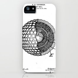 Golf Ball Patent - Golfer Art - Black And White iPhone Case