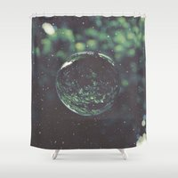 snow Shower Curtains featuring Snow Globe by Jane Lacey Smith