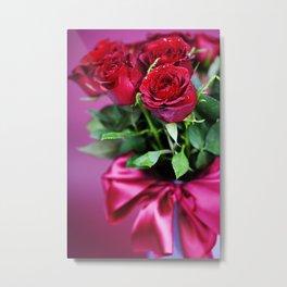 bouquet of red roses in vase Metal Print