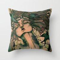 siren Throw Pillows featuring Siren by JenniferLove