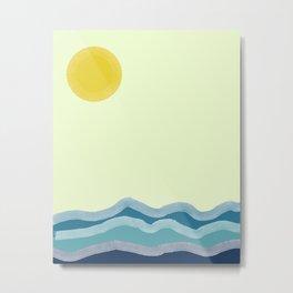 Sun Over the Water Minimalist Art Metal Print
