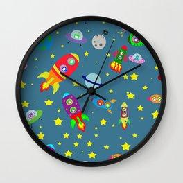 Rockets to the moon Wall Clock