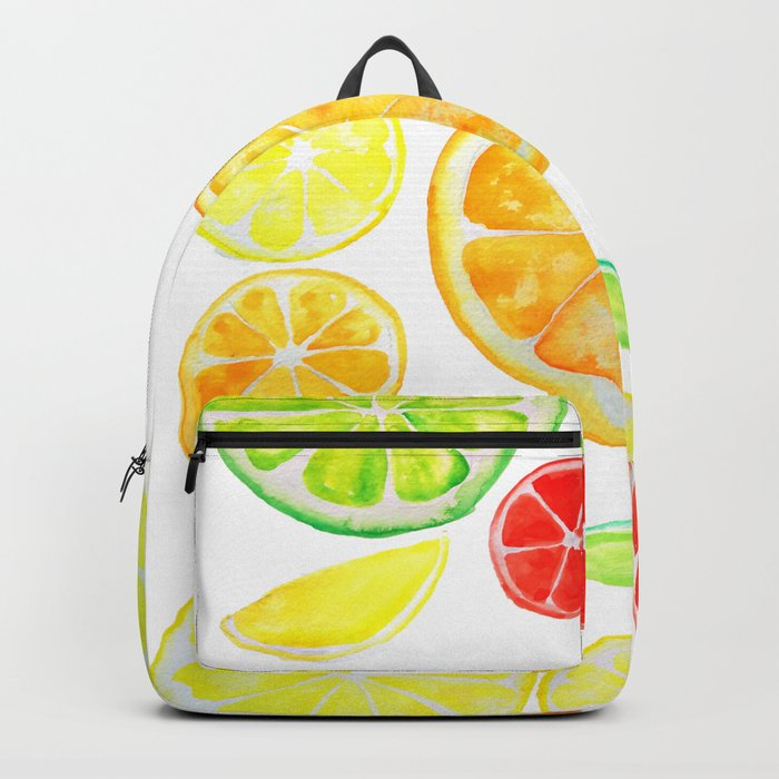 colorful citrus fruit watercolor Backpack