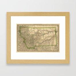 Vintage Map of Montana (1881) Framed Art Print