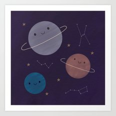 Kawaii Outer Space Art Print