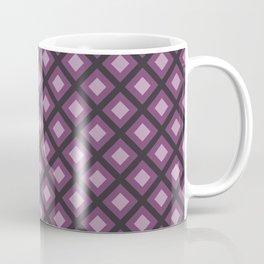 Purple and Gray Zigzag Square Checker Pattern Coffee Mug