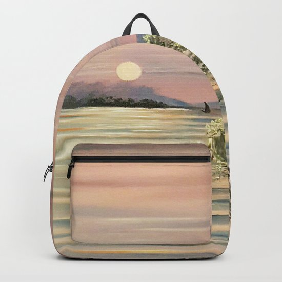 Sunset over a lake Backpack