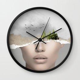 minimal collage /silence2 Wall Clock