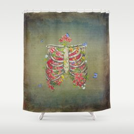 Blooming skeleton on the grunge background  Shower Curtain