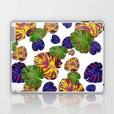 GREEN-GOLD-PURPLE TROPICAL LEAVES ART Laptop & iPad Skin