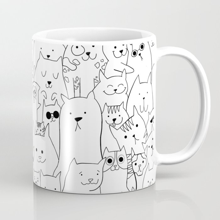 White Cat Colouring Coffee Mug