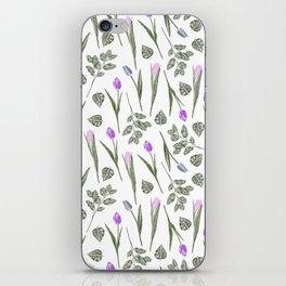 Elegant lilac blush pink blue watercolor tulips pattern iPhone Skin