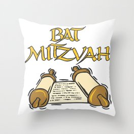 Bat Mitzvah with Scroll  Throw Pillow