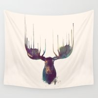 yellow pattern Wall Tapestries featuring Moose by Amy Hamilton