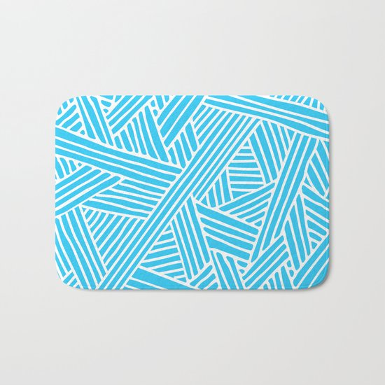 Abstract Teal & white Lines and Triangles Pattern-Mix and Match with Simplicity of Life on #Society6 Bath Mat