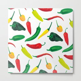 Chili Pepper Pattern Metal Print