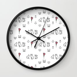 A repeating pattern of cute pixelated witch black cats, smiles, hearts, red roses Wall Clock