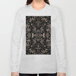 Black Gold Baroque Floral Pattern Long Sleeve T-shirt