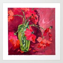 Red Poppies in Green Vase Art Print
