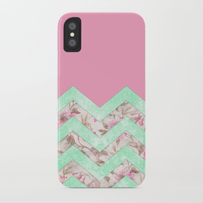 Girly Mint Green Pink Floral Block Chevron Pattern iPhone Case