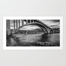 Branson's Lake Taneycomo and White River Bridge Panorama - Black and White Art Print