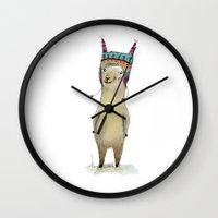 llama Wall Clocks featuring Llama by Paola Zakimi