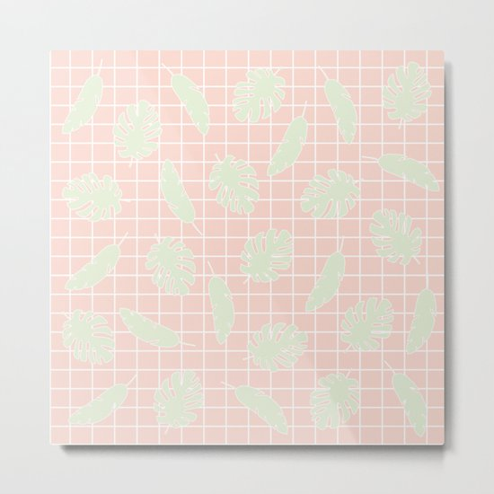 Graphic Tropical Leaves on Grid Pink and Mint Green Metal Print