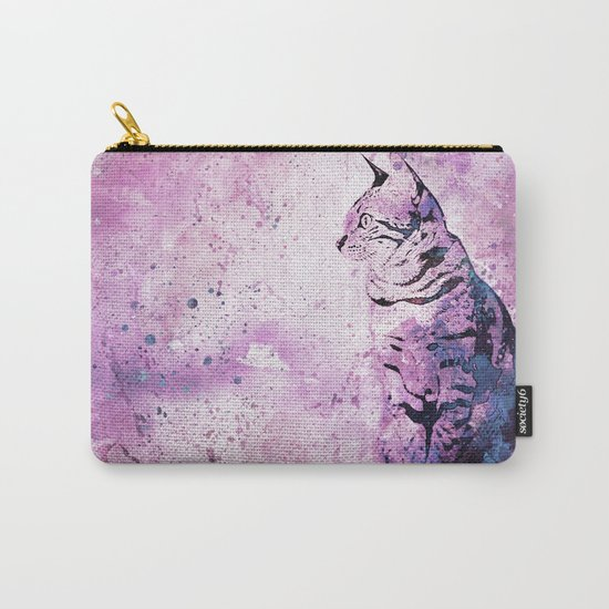 pink Watercolor Cat Art Carry-All Pouch