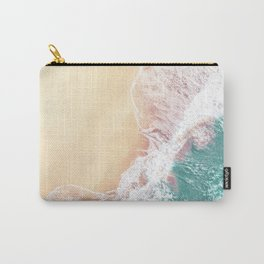 Aerial Ocean Waves | Teal Green Color Carry-All Pouch