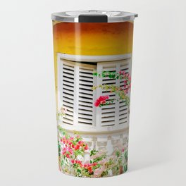 Colorful Yellow Balcony in Cartagena, Colombia Travel Mug
