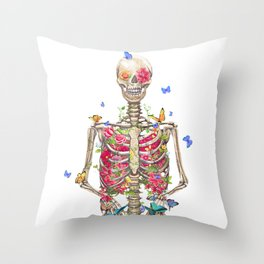 Blooming skeleton on the white background  Throw Pillow