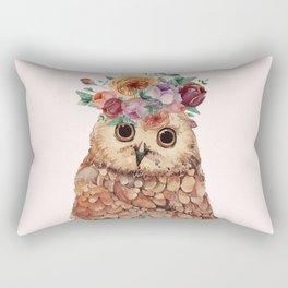 Owl with Flowers Rectangular Pillow