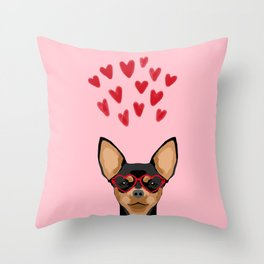 Chihuahua black and tan valentines day love hearts dog breed gifts cute chiwawa glasses Throw Pillow