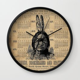 Sitting Bull Native American Chief  Wall Clock