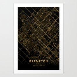 Brampton, Canada - Gold Art Print