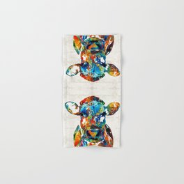 Colorful Cow Art - Mootown - By Sharon Cummings Hand & Bath Towel