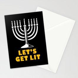 Hanukkah Chanukkah Menorah Lets Get Lit Jewish Stationery Cards