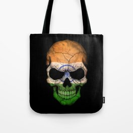 Dark Skull with Flag of India Tote Bag