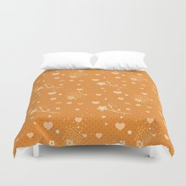 Flowers, Hearts & Donuts Duvet Cover