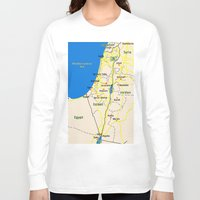 israel Long Sleeve T-shirts featuring Israel Map design by Efratul