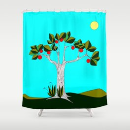 A  Traditional Israeli Symbol, Pomegranate Tree of Life Shower Curtain