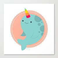 narwhal Canvas Prints featuring Narwhal by Luli Bunny