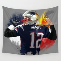 tom selleck Wall Tapestries featuring Tom Brady by J Maldonado