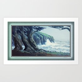 WINDSWEPT CYPRESS TREES ON THE MENDOCINO COAST CALIFORNIA Art Print