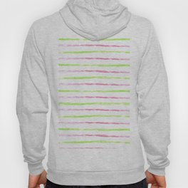 Modern lime green pink watercolor watermelon stripes Hoody