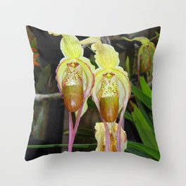 Lady Slipper Orchids Throw Pillow