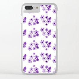 Purple Flowers Pattern Clear iPhone Case