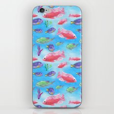 The deep sea-fishes in the sea- watercolor illustration iPhone & iPod Skin