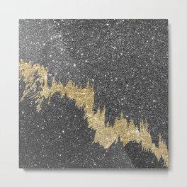Chic black gold glitter abstract brushstrokes Metal Print