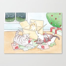 Christmas Cats // Watercolour illustration of cats playing with wrapping paper & boxes Canvas Print